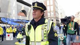 Mark Wahlberg Films at Boston Marathon Finish Line