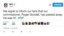 Roger Goodell Declared Dead After NFL Twitter Hack