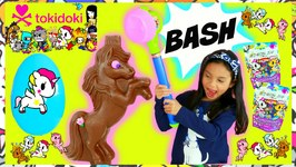 Bashing Giant Chocolate Unicorno surprise big eggs opening candy sweets review