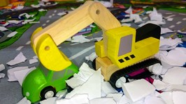 Kid's Toy Cars  Snow Road And Rescue Vehicles - Excavator And Bulldozer Winter Demo