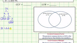Ex 3: Determine the GCF and LCM using Prime Factors and a Venn Diagram