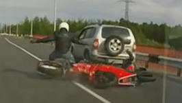 Lucky Biker walks away from Insane Crash