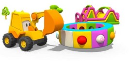 Kids Color Construction  Excavator Max's Carousel  Clothes  - 3d Monster Machines