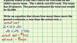 Write an Equation Showing a Relationship from a Word Problem (Common Core 5/6 Math Ex 4)