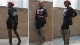 OOTD Fall Fringe Thigh Highs & High Waist Jeans