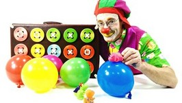 Funny Videos For Children With Clowns. Funny Clown Poogie, Balloons And 3 Dino