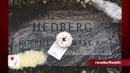 Doughnut and Receipt Left on Mitch Hedberg's Grave
