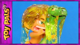 THE GOOD DINOSAUR TOYS Slimed In Skeletal Slime Chamber ARLO And SPOT Toy Review Kids Videos