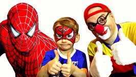 Car Clown - SPIDER BOY - Face Painting Guessing Game Demo For Kids