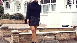 Black Jumper And Black Leather Skirt