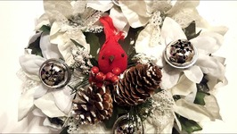 DIY Dollar Tree Christmas Wreath - Silver Bells and Poinsettias