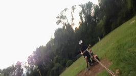 Epic Dirt Bike Crash Into Basketball Hoop