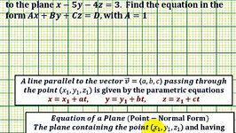 Ex: Find the Equation of a Plane Given a Point in the Plane and a Parallel Plane