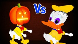 Donald Duck got Scared by Halloween Monsters Finger Family Rhyme for Kids - Donald Duck Skeleton