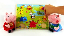 Peppa Pig - Wild Animals Jigsaw Puzzle Demo - Toy Collection And Unboxing Game  Videos For Kids